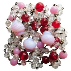 Fabulous Opalescent Pink Red & Crystal Beads Vintage Necklace - Chain Wired