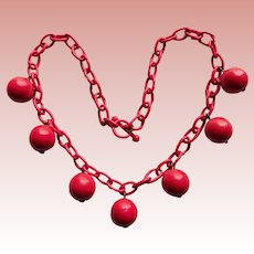 Awesome RED PLASTIC DANGLES Red Celluloid Chain Necklace