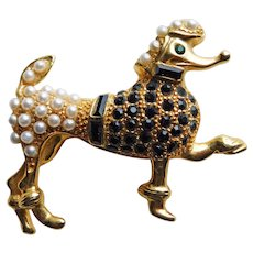 Adorable PRANCING POODLE Dog Rhinestone Vintage Brooch - Fun Figural