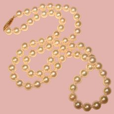 Fine Cultured Akoya Pearl 14K Gold Clasp Matinee Length Vintage Necklace