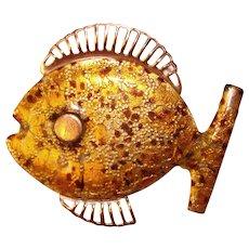 Awesome MATISSE Signed Copper Modernist Enamel Fish Design Brooch