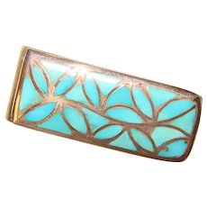Awesome STERLING Mosaic Turquoise Vintage Money Clip