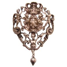 Fabulous PERUZZI STERLING Heraldic Design Vintage Brooch