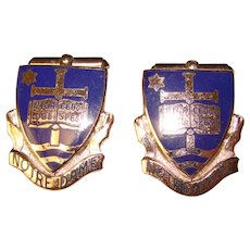 Awesome STERLING ENAMEL University of Notre Dame Vintage Cufflinks