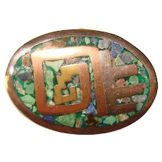 Awesome MEXICAN STERLING & Stone Mosaic Inlay Vintage Brooch
