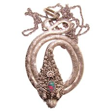 Fabulous STERLING & OPAL Snake Design Vintage Pendant Necklace