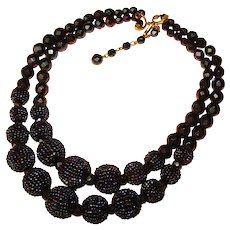Fabulous BLACK CARNIVAL Double Strand Glass Beads Vintage Necklace