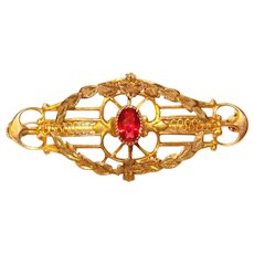 Gorgeous Ostby Barton 10k Gold Red Stone Antique Brooch