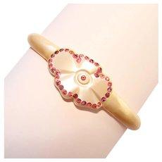 Fabulous Celluloid Pink Rhinestone Flower Design Vintage Bangle Bracelet