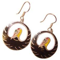 Fabulous MEXICAN STERLING Vintage Enamel Bird Design Earrings