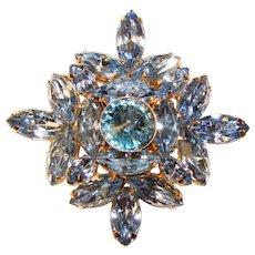 Fabulous BLUE Navette Rhinestone Vintage Brooch