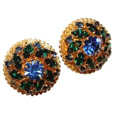 Fabulous AUSTRIA Vintage Blue Green Rhinestone Clip Earrings
