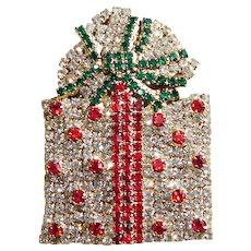 Fabulous CHRISTMAS PRESENT Rhinestone Brooch - Holiday Pin