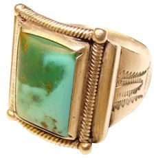 Fabulous STERLING & TURQUOISE Southwest Design Vintage Ring