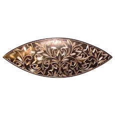 Fabulous STERLING Dark Finish Engraved Design Vintage Brooch