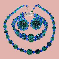 Fabulous BLUE & GREEN Aurora Crystal Vintage Set