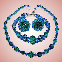 Fabulous BLUE & GREEN Aurora Crystal Vintage Set