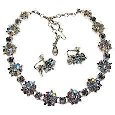 Fabulous LISNER Signed Vintage Smoke Colored Aurora Rhinestone Necklace Set