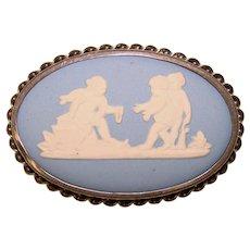 Fabulous WEDGWOOD Sterling Blue Jasperware Playing Angels Vintage Brooch - Rainbow Sterling