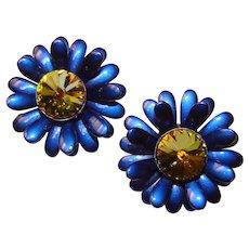 Gorgeous Metallic BLUE ENAMEL Rivoli Rhinestone Flower Clip Earrings