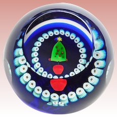 Gorgeous CAITHNESS Miniature Christmas Tree Paperweight - Signed Lampwork Glass Scotland