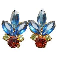Gorgeous Blue Orange & Yellow Rhinestone Vintage Clip Earrings