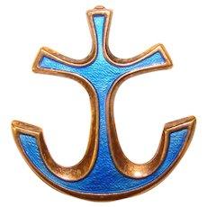 Fabulous DAVID ANDERSEN Sterling & Enamel Blue Anchor Vintage Brooch - Norway Norwegian Signed