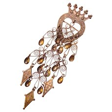 Fabulous Vintage Norwegian Solje Heart Crown Design Brooch - Elvik Oslo