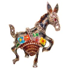 Fabulous ALICE CAVINESS Signed Sterling & Marcasite Enamel Donkey Brooch
