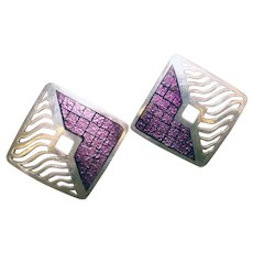 Fabulous STERLING Purple Enamel Artist Signed Vintage Earrings