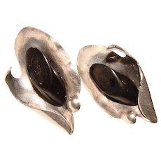 Gorgeous STERLING Black Coral Vintage Earrings
