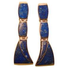Fabulous STERLING & LAPIS Stone Vintage Dangle Earrings