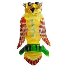 Fabulous CARVED LUCITE Owl Bird Vintage Brooch - Front and Back Reverse Carving - Hand Painted Figural