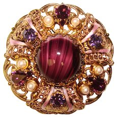 Fabulous GERMANY Purple Art Glass & Rhinestone Vintage Brooch