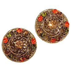 Gorgeous FALL COLOR Vintage Rhinestone Clip Earrings