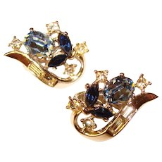 Fabulous TRIFARI Signed Blue Rhinestone Vintage Clip Earrings