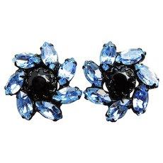 Gorgeous WEISS Signed Blue & Black Rhinestone Vintage Earrings