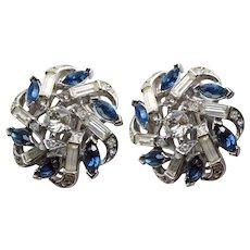 Gorgeous TRIFARI Signed Blue & Clear Rhinestone Vintage Clip Earrings
