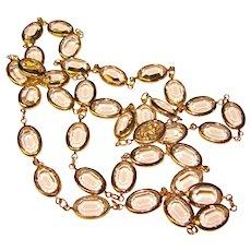 Gorgeous BEZEL EDGE SET Oval Crystal Stones Necklace