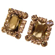Fabulous D&E JULIANA Smoke Rhinestone Vintage Clip Earrings