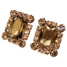 Fabulous D&E JULIANA Smoke Rhinestone Vintage Clip Earrings