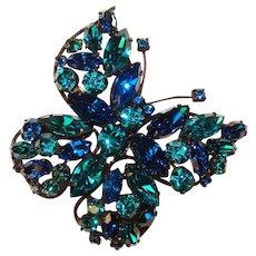 Fabulous REGENCY Butterfly Design Capri Blue & Teal Rhinestone Vintage Brooch