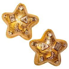 Fabulous GUY LAROCHE Signed Star Shaped Rhinestone Clip Earrings