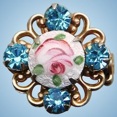 "Tiny Enamel & Aqua Rhinestone Vintage Mini Pin Brooch - 11/16"" For Doll or Lapel"