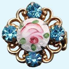 """Tiny Enamel & Aqua Rhinestone Vintage Mini Pin Brooch - 11/16"""" For Doll or Lapel"""
