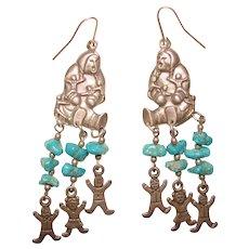 Fabulous STERLING & TURQUOISE Storyteller Design Earrings