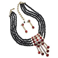 Fabulous HEIDI DAUS Red Rhinestone Black Glass Necklace Set