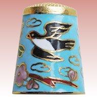 Gorgeous BIRDS Cloisonne Enamel Vintage Thimble