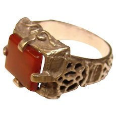 Fabulous STERLING CARNELIAN Vintage Ornate Setting Ring