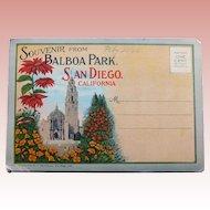 1920s BALBOA PARK San Diego Postcard Folder - Souvenir of California